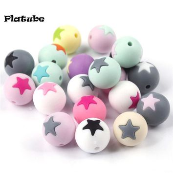 JETM.HH 50PCS Round Star Silicone Teething Beads 15MM DIY Baby Tooth Chew Necklace Loose Beads Baby Teether Teething