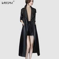 2018 Spring Autumn Long Leather Coat Female Fashion Large Size Casual Women PU Leather Jacket Women PU Leather Trench Coats VR15