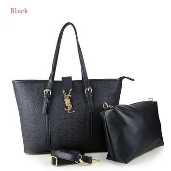 YSL Women Shopping Bag Leather Satchel Handbag Shoulder Bag Two piece Set G-YJBD-2H
