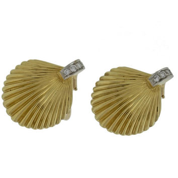 Vintage Solid 18k Gold Platinum Ribbed Diamond Scallops Shell Clip On Earrings