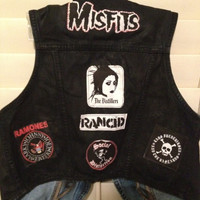 Punk Vest The Distillers Streetlight Manifesto Misfits Rancid NOFX Ramones Social Distortion Dropkick Murphy's Lars Frederiksen Patches