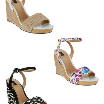 NEW! G.I.L.I. Leather & Fabric Espadrille Wedges -Mandie