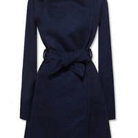 ROMWE | New Style Lapel Dark Blue Coat, The Latest Street Fashion