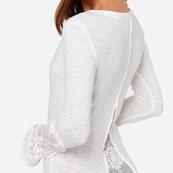 Going Underground White Long Sleeve Lace Trim Scoop Henley Neck Basic Top