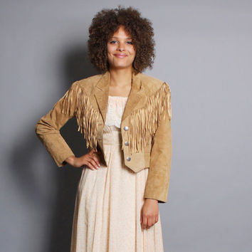 80s FRINGED Suede JACKET / Cropped Tan Western Biker Jacket, s-m