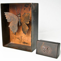 Jan Barboglio Butterfly Box, Large Rusty Butterflly, Shadowbox Metal Display