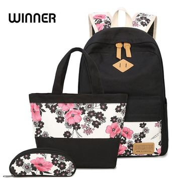 2017 New Large Capacity Canvas Women Backpack Set Casual Plum Blosso Printing Students Teens Girl for Shoulder Box Bag Pencil