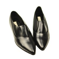 Vintage PU Leather Flat Shoes with Pointed Toe in Black
