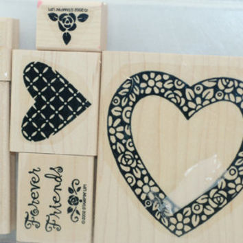 Stampin Up Rubber Stamps -  MINT and RETIRED  - Hearts and Posies - Scrapbooking, Cardmaking, Crafts, Design, Tags