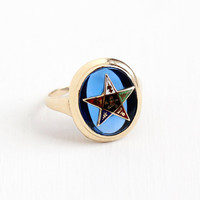 Vintage 10k Rosy Yellow Gold Order of the Eastern Star Ring - Size 7 Masonic Created Blue Spinel Colorful Enamel Fine Jewelry