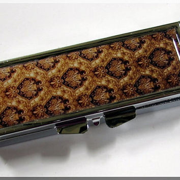 Pill Box Metal Case Brown Tan Tapestry