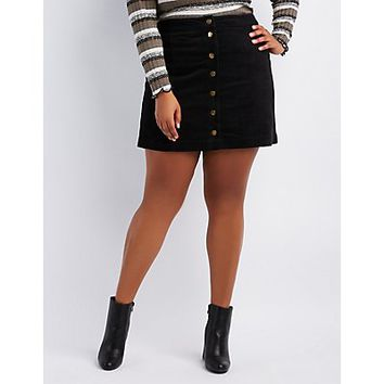 Plus Size Corduroy Button-Up Skirt | Charlotte Russe