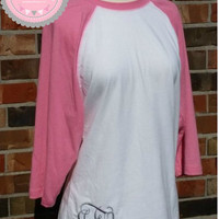 Pink and White Raglan Shirt with Monogram on bottom other colors available