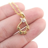 Minimal Penguin Outline Shaped Pendant Necklace in Gold