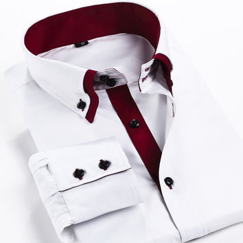 New Men's clothing Brand long sleeve dress shirt men Double layer collar casual business shirts for men Camisa Masculina