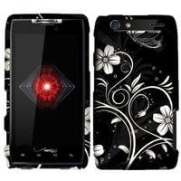 For Motorola Droid RAZR XT912 (Verizon) Rubberized White Flowers Design Snap-on Protector Shell Case Face Plate Cover