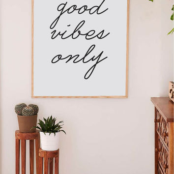 Printable Wall Art Prints, Printable Quotes, Dorm Decor, Dorm Art, Urban Outfitters, Digital Print, Digital Download, Good Vibes Only