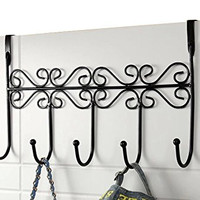 AM MARCH Over The Door 5 Hooks Organizer Rack for Bedroom /Living Room /Kitchen /Office/ Bathroom Door (Black)