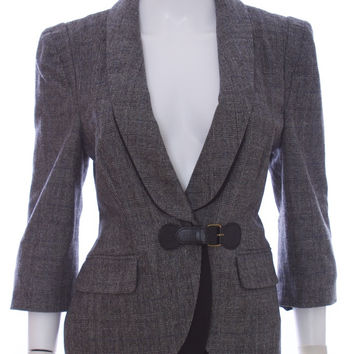 TIBI New York Black and White Plaid Wool Cashmere Blend Blazer Coat Size 8