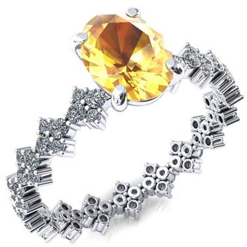 Lacy Oval Yellow Sapphire 4 Prong Single Rail Full Eternity Engagement Ring