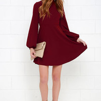 Got the Notion Wine Red Long Sleeve Dress