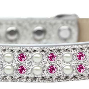 Two Row Pearl and Pink Crystal Size 14 Silver Ice Cream Dog Collar