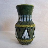 Italian Etched 70s Ceramic Vase Vintage Green White Geometric Primitive 1970s Pottery Home Décor