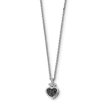 Sterling Silver Black And White Diamond Heart Pendant Necklace