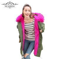 Women Winter Oversize Long Hooded Fur Coat Plus Size Thick Hood Warm Jacket Army Green Pink Black 13W0227