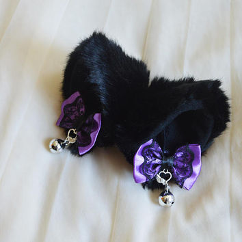 Kitten play clip on cat ears with ribbon bows and bell - neko lolita cosplay costume - kitten play gear accessories - black and purple