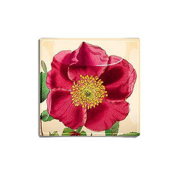 Red Rose Flower with Green Stem Decoupage Glass Tray