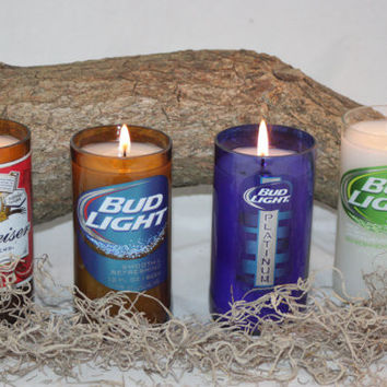 Beer Bottle Candle Recycled from Budweiser Beer Bottles, High Scented, Custom Made Candle