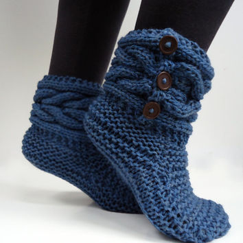 Women's knit slippers,indoor knit slippers,hand knit slipper boots,wool slipper socks,blue slippers,Ready to ship in size 38-39(US:7.5-8.5)