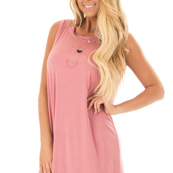 Mauve Loose Fit Sleeveless Dress