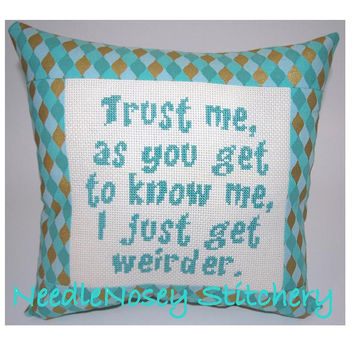 Cross Stitch Pillow Funny Quote Teal Pillow Weird by NeedleNosey