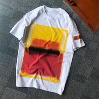 """Heron Preston"" Unisex Casual Personality Gradient Color Pattern Print Letter Embroidery Short Sleeve Couple T-shirt Top Tee"