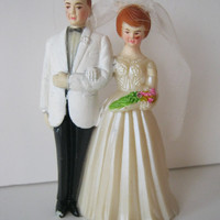 Vintage Bride and Groom Cake Topper Red Heads 1950's or 60's