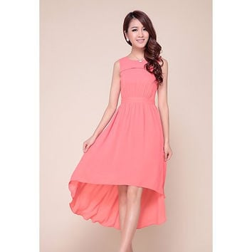Pink  Asymmetrical Chiffon Dress