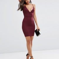 ASOS Strappy Back Wrap Front Mini Bodycon Dress at asos.com