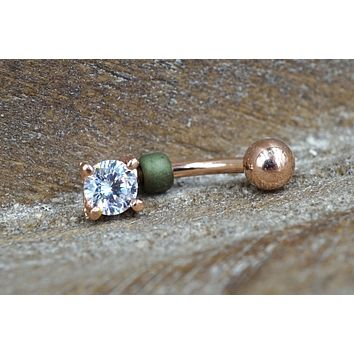 Clear Crystal Rose Gold Belly Button Ring