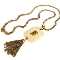 Trifari Lucite Necklace, Carved Faux Ivory, Tassel Fringe, Gold, Asian Style, Floral, Vintage Jewelry