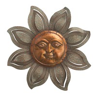 Textured Metal Garden Sun Face Wall Decor -- 30-in