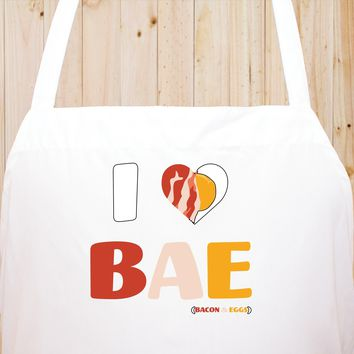 I Love Bacon and Eggs Chef's Funny Cooking Kitchen Apron, BBQ Grill, Breathable, Machine Washable