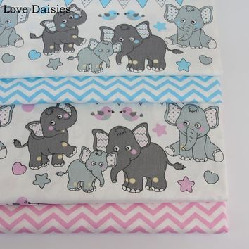 100% cotton twill cloth BLUE GRAY cartoon elephant birds chevron fabrics for DIY crib bedding cushion patchwork handwork decor