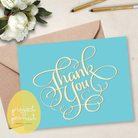 Printable Blue Thank You Card [Instant Download]