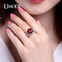 UMODE Vintage 5ct Round Cut Luxury Red Rings White Gold Color Bloody Royal Jewelry for Women Anel Feminino UR0323