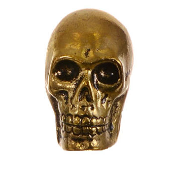 Skull Cast Metal Cabinet Knob in Antique Brass