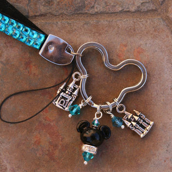 Magical Teal Rhinestone Bling WRIST Lanyard Mickey Mouse Style Disney Inspired DeSIGNeR Key Fob Name Badge Keychain ID Badge Holder
