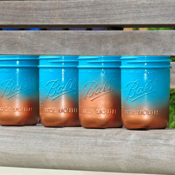 ombre mason jars, turquoise mason jars, party mason jars, home decor mason jar, jade mason jar, copper mason jar,tiffany blue jar,teal mason