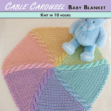 CABLE CAROUSEL Knit Baby Blanket Pattern [Digital File Download]